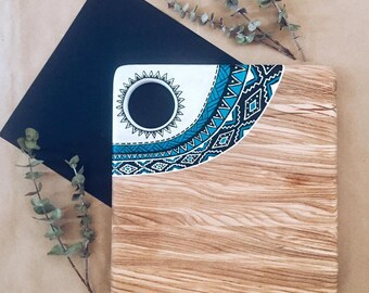 Cooking gift Cutting Board Cheese Serving board with Aztec print Hand painted Wooden Placemat Housewarming Gift, Wooden chopping Board