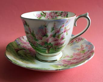 "Royal Albert Bone China England ""Blossom Time"" Cup and Saucer 1950s"