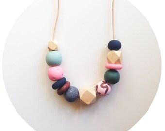 Mavis - Pink, Green and Navy Handmade Polymer Clay Bead Necklace
