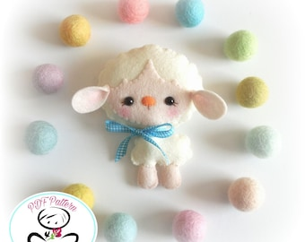 Bella the Lamb-PDF Sewing Pattern-DIY-Felt Sheep Toy Pattern-Baby Sheep-Nursery Decor-Lamb Ornament-Baby's mobile toy-Farm animals