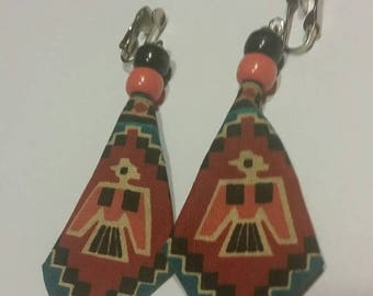 SALE Vintage Southwestern Earrings Tribal Pattern