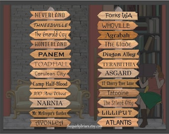 24 Assorted Fictional Places Arrow Signs / Avonlea / Whoville/ Printable Wooden Photo Props / School Decors / PDF Digital / Instant Download