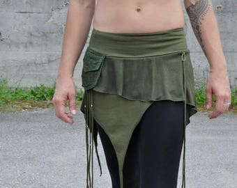 Miniskirt with Brass Pearls in olive