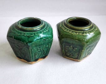Set of two Chinese Ginger Jars, Green Pot, Vintage 1960's