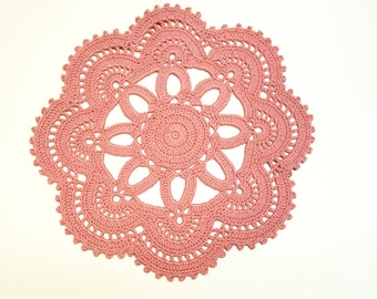 Crochet Pink Doily, Ashes of roses, Aqua Mint White or Ivory Wedding Doily, New Hand Crochet Doily, Round Doily, Crochet Lace Doily