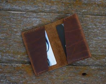 Handmade Bison Brown Leather Slim Wallet