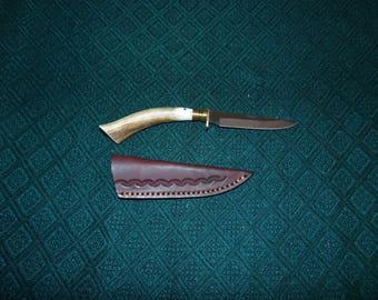 Custom made genuine Deer Antler skinner with leather sheath