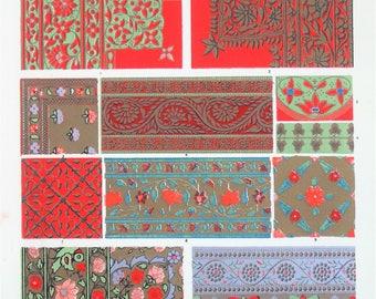 Owen Jones - The Grammar of Ornament - Stunning 1800s Lithograph - Indian Art (P50)