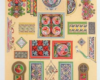 Owen Jones - The Grammar of Ornament - Stunning 1800s Lithograph - Celtic Art (P65)