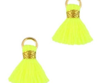 Beaded tassels, tassels, tassel pendant-1.5 cm-3 pcs.-Color selectable (color: yellow)