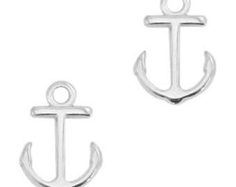 """DQ Metal pendant, charm """"Anker""""-2 pcs-15 x 10 mm-Zamak-color selectable (colour: silver)"""