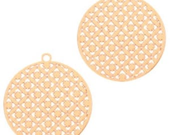 Bohemian pendant with eyelet, round shape-3 pcs.-22 x 20 mm-Color selectable (color: Gold)