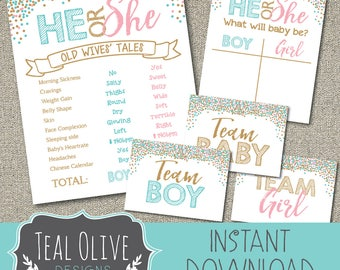Gender Reveal Package | Old Wives Tales | Cast Your Vote | Printable Chalkboard | DIY Printable | He or She