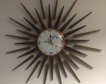large 27 inch hand made mid century style starburst clock by royale in seth thomas style