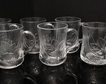 Arcoroc France Canterbury Coffee Mugs,Glass Arcoroc Clear Flower Cups,Crocus Coffee Cups,Embossed Floral Glass Cups