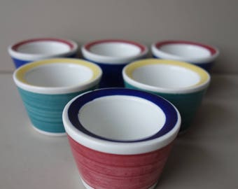 Lot of 6 Rörstrand Sweden egg cups in three colors no. 117 Picknick Marianne Westman Scandinavian mid century modern Swedish