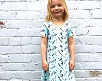 NEW! Feathers  Jersey dress, baby dress, toddler dress, organic baby clothes, girls dress, baby girl, girls clothes, baby clothes,