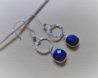 Lapis lazuli earrings and sterling silver / / square and round