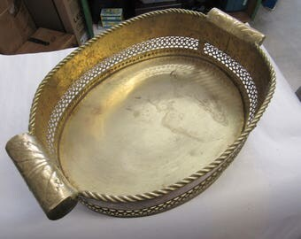 """Brass Basket with Handles Large 14"""" x 10"""""""