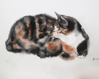 Cat Art, Calico Cat Painting, Watercolor Cat Painting, Original Art Cat, Original Watercolor Painting, Cat Lover Gift for Cat Lover