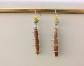 Dangle earrings, amber, hint of Sea Urchin, sea urchin imperial, stainless steel, Bohemian earrings, Pearl Earrings