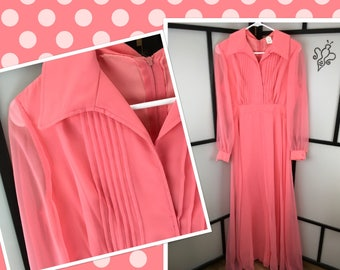Formal Party Dress, 60s Evening Gown, Collared Party Dress, Medium
