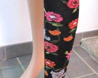 printed fantasy flowers leg warmers