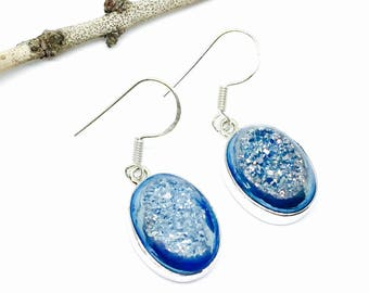 Blue Druzy and sterling silver earrings (92.5). Perfect matched stones. Sky blue titanium druzy. Length- .75 inch