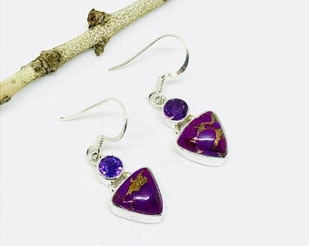 10% Mojave purple Copper turquoise, amethyst earrings set in sterling silver 925. Perfectly matched stones. Length- 1 inch