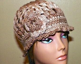 On Sale- Beige Cloche Hat Flapper  Tan Brown Womens Downton Abby Freeform Beanie Crochet Flower Gatsby Bucket 1920s Style