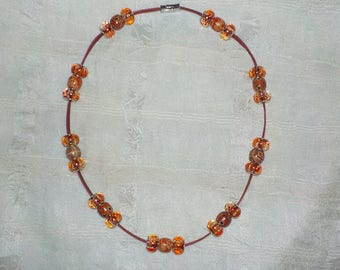 Tropical Orange Colored Genuine Leather Beaded  Dog ~ Cat Collier (Gold Rhinestone and Auburn Swirl Bead Necklace)