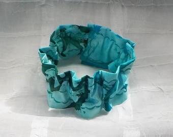 GORGEOUS Turquoise Batik (Scrunchie) Dog/Cat Collar Cover Small, Medium