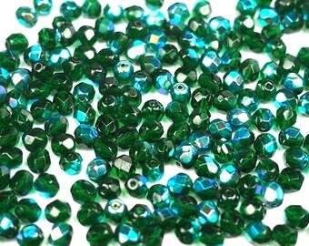 300 Medium Emerald AB coated 6mm, Preciosa Czech Fire Polished Round Faceted Glass Beads, Czech Glass Fire Polish Beads, loose green beads