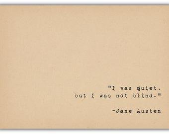 Literary Quote Print - Bibliophile Art - Jane Austen Quote - Quiet Shy Inspirational Quote - Romantic Art - Author Quote Art
