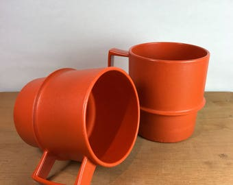 Vintage Orange Tupperware Travel Mugs