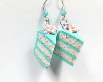 Funfetti Cake Earrings, Cake Jewelry, Miniature Cake, Blue Cake, Confetti Cake, Food earrings, Dessert Earrings