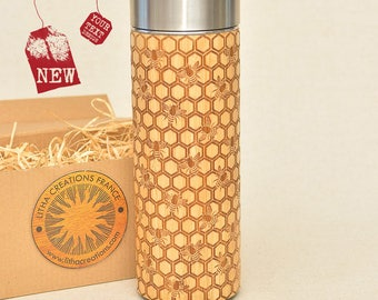 Original Bamboo Thermos Wooden Flask 380 ml Engraved Wood MY HONEY Stainless Steel with Screw Lid