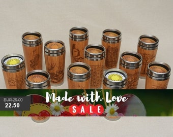 Personalized Custom Order  Engraved Bamboo Wood Travel Mug Car or Desk Coffee Tea Cup Stainless Steel with Rubber Mounted Plastic Lid