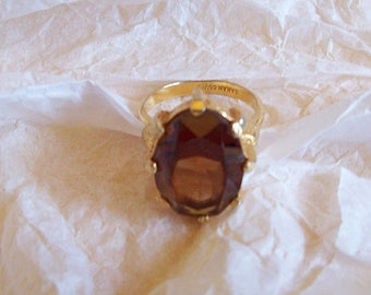 Signed Sarah Cov Brown Topaz Glass Dress Ring 70s