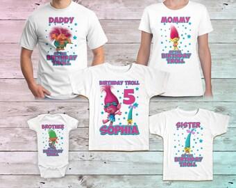 Trolls Birthday Shirt, Trolls Family Birthday Tshirt, Matching Shirts, Trolls Mommy Birthday Party, Trolls Daddy birthday shirt Outfit