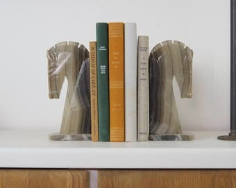Large vintage gray marble horse head bookends | Natural stone paire of book ends | Mid century modern library, book shelf and office decor