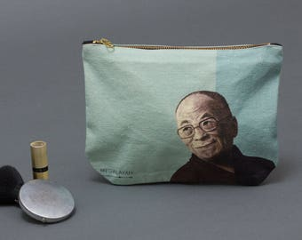 Dalai lama, Coin Purse, Makeup bag, canvas pouch, Small Purse, Accessory Purse, printed pencil pouch,  Clutch Purse, canvas osmetic bag