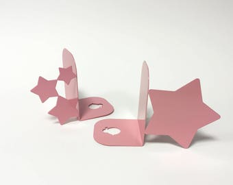 Bookends stars, pink, storage, organize, shelf, bookends for library, kitchen bookends,bookend, dark.