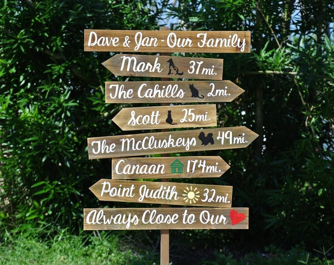 Our Family Rustic Directional Location Sign, Beach House/ Yard/ Garden Decor, Unique Parents gift idea