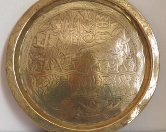 Vintage Brass Egyptian Engraved Plate Sphinx Pharaoh Snake