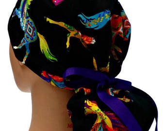 Women's Premium Fabric Ponytail Style Surgical Scrub Cap Hat in Southwest Horses