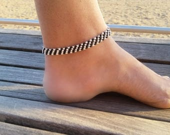 Beaded Anklet, Seed Bead Anklet, Beach Anklet Bracelet, Foot Jewelry, Valentines Day Gift Idea