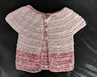 Newborn baby cardigan pink and red cotton size NB