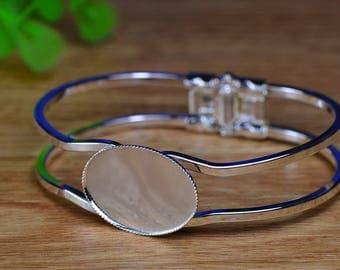 1pcs Silver Bracelet with 18x25mm Round Bezels Cuff Bracelet Blank Bases Setting, Bracelet Settings(SJ083)