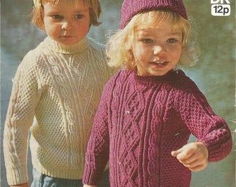 Instant Download - PDF- Lovely Vintage Cable Jumperand Hat Knitting Pattern (C47)